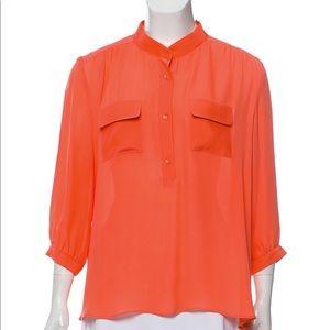 Parker Orange Silk Button Down Silk Blouse